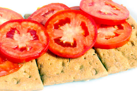 white pieces of fresh tomatoes and toast bread Stock Photo