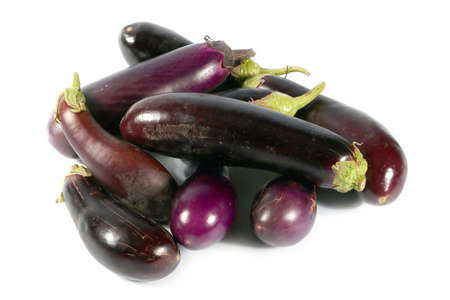 beautiful autumn harvest mature fruit of eggplant