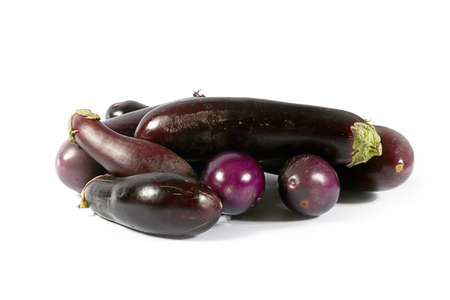 beautiful autumn harvest mature fruit of eggplant