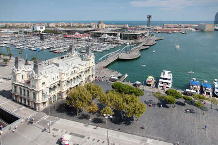 famous industries: urban construction and a seaport in Barcelona, ??Spain Stock Photo