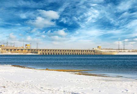 hydroelectric power plant on the Volga river, Volgograd city, Russia