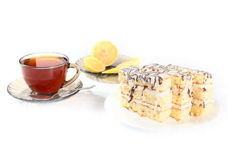pound cake: strong tea with a slice of lemon and sweet cake