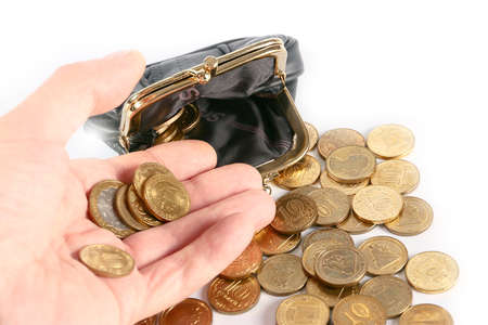 change purse: Black leather purse and Russian metal coins