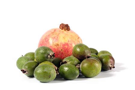 guayaba: Fresh ripe pomegranate and pineapple guava fruit tropics