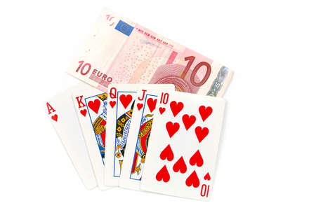 good winning combination of cards in poker and paper euro banknotes bet