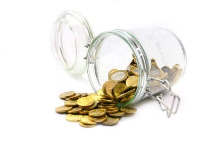 Russian metal coins and glass jar for storage Stock Photo