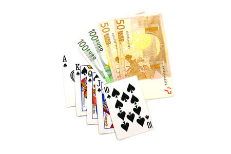 card making: good winning combination of cards in poker and paper euro banknotes bet