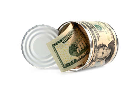 galvanized: paper money American dollars in galvanized tin label a coin as a variant of saving money Stock Photo