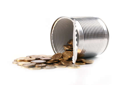 Open galvanized metal tin can and a bunch of Russian gold-colored coins Stock Photo