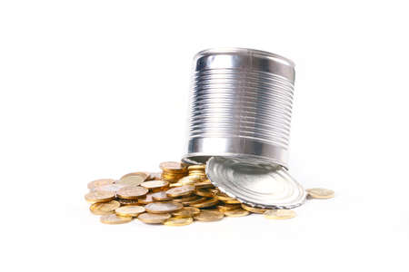 path to wealth: Open galvanized metal tin can and a bunch of Russian gold-colored coins Stock Photo