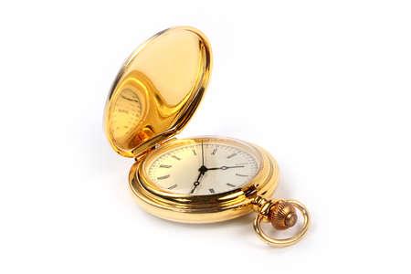 reloj de bolsillo vintage antiguo en caja de oro como símbolo de buena suerte y éxito