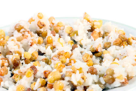 boiled rice and raisins as part of the religious festive meal called kutia or sochivo Stock Photo