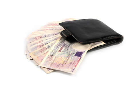 Black Wallet From Genuine Leather And A Lot Of British Pounds