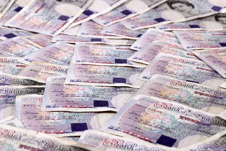 Paper Notes British Pounds On The Table As A Symbol Of Success