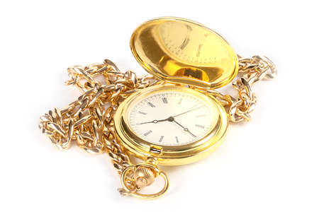Pocket antique clock in the case of gold and metal chain for attaching to clothing Stock Photo
