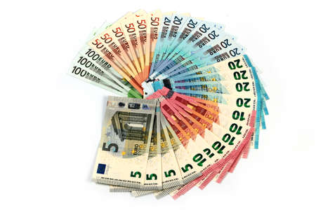 European paper euro bills as part of the world financial and trading system Stock Photo