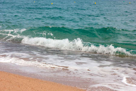 Sandy beach and waves on the water surface