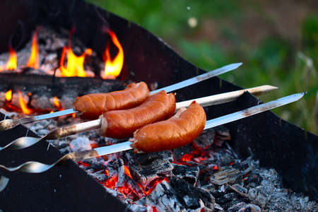 spit: Cooking fatty meat sausages on an open fire in the brazier grill