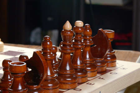 Dark and light wooden chess pieces stand on a blackboard