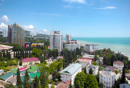 lia: Quarters of residential buildings of the city of Sochi Krasnodar region Russia Stock Photo