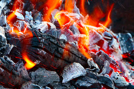 brazier: Bright flame and hot coal in the brazier for toasting Stock Photo