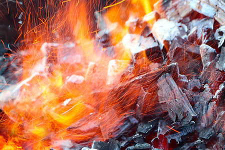 Bright flame and hot coal in the brazier for toasting Stock Photo