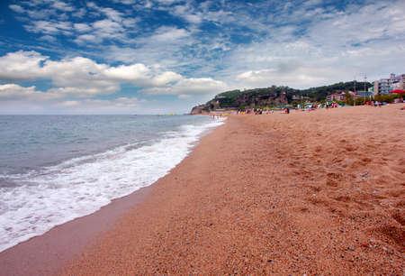 Beautiful sandy beach on the Mediterranean Sea next to Barcelona, ??Spain