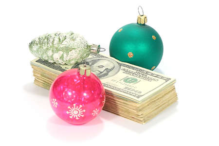 paper moneybills and New Years glass toys