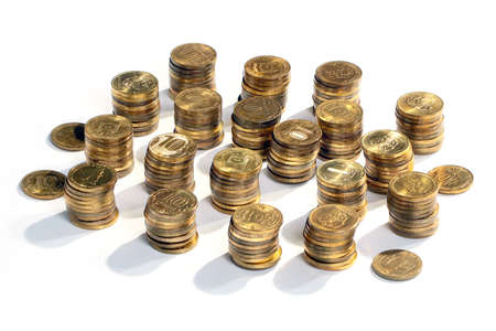 Stacked in metallic gold Russian ruble as part of the economy of the country Stock Photo