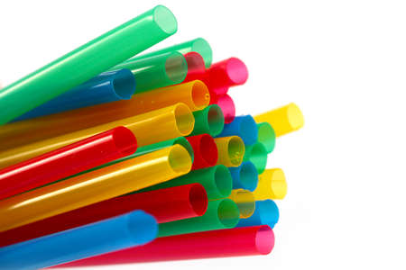 a bunch of colorful plastic tubes for a drink