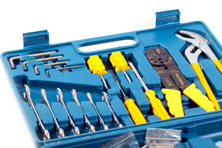 a set of metalwork tools in a plastic case Stock Photo