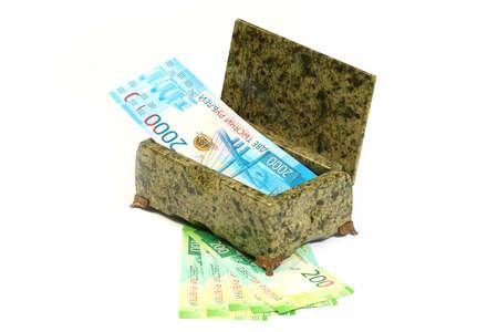 Russian paper banknotes in the box of semiprecious stone malachite Stock Photo