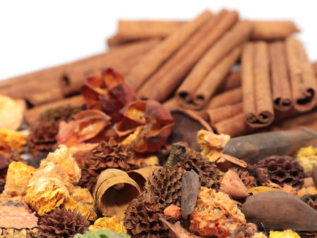 fresh water cinnamon sticks and dry seeds like salvage for spa treatments