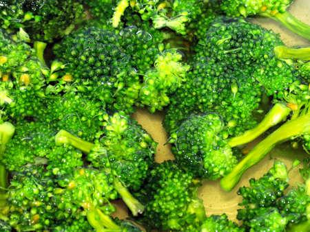 fresh ripe broccoli in boiling water