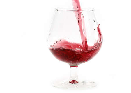 a splash of red wine when poured into a glass