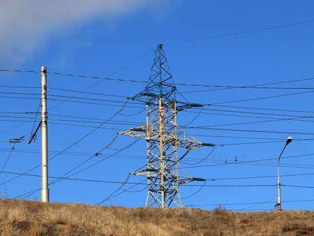 high-voltage power line Stock Photo