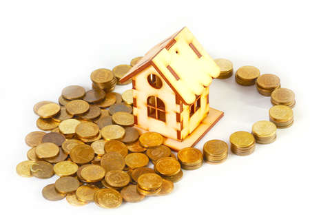 rubles coins and a wooden house