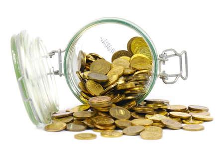 Jar and coins Zdjęcie Seryjne