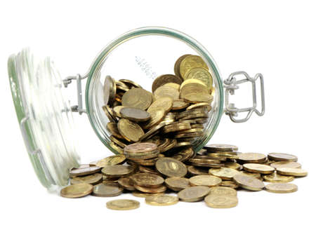 Jar and coins Stock Photo