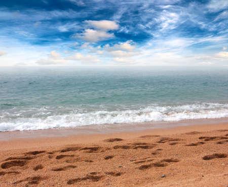 sandy beach of the mediterranean sea Imagens