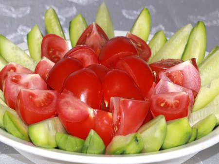 ripe fresh tomatoes and cucumbers