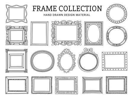 collezione di cornici per disegno a tratteggio decorativo Vettoriali