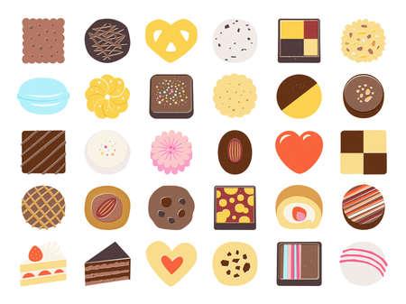 Ensemble d'icônes d'aliments sucrés. chocolat, biscuit, gâteau, macarons Vecteurs