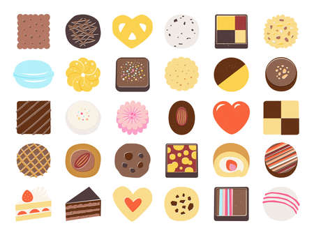 Set of sweet food icons.  chocolate, cookiet, cake, macaroons Illustration