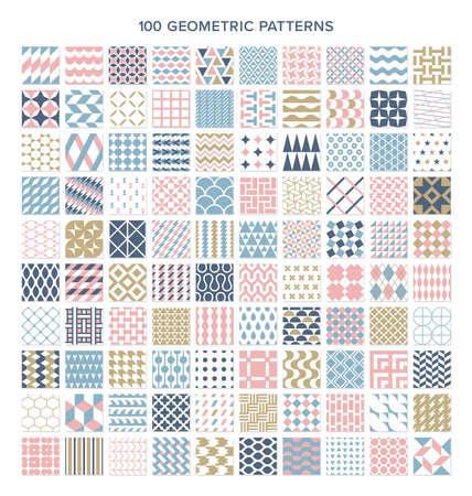Seamless patterns with 100 geometric patterns