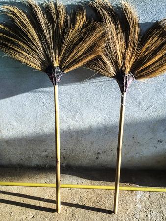 broom handle: Cleaning broom in Thailand.