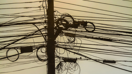 electric line: Power lines on electric pole