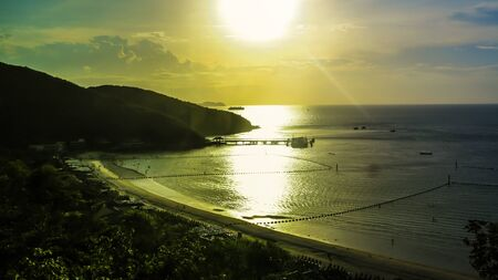 whitehaven: View of the beach on island and sunset.