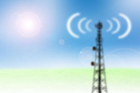 airwaves: blur satellite shadow and phone antenna sky background Stock Photo