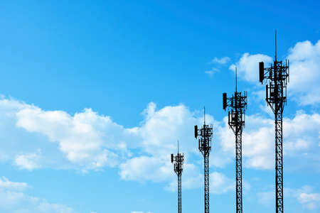 telecom: Silhouette phone antenna Stock Photo